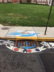 This storm drain mural in front of Rancocas Valley