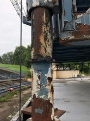 Rust infests stage scaffolding at Mesker Amphitheatre