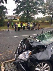 Police are on the scene of a crash at Airport Road