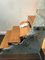 Broken glass at Nicko Feinberg's home that occurred