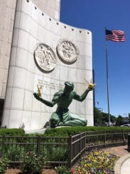 """Marshall Fredericks' """"The Spirit of Detroit"""" is well sited and, thanks in part to the curving wall behind it, easy to see -- in contrast to a number of other sculptures downtown."""