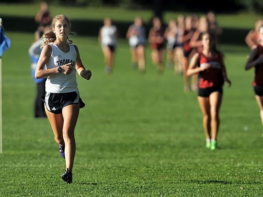 Webster Thomas junior Amanda Vestri finished 12th at the 2014 MicQuaid Invitational girls AAA race after she ran the course at Genesee Valley Park in 18 minutes, 27 seconds.