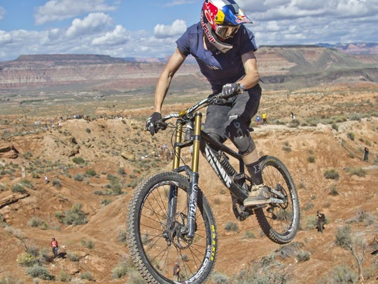 Athletes compete during the 2014 Red Bull Rampage in Virgin, Utah.