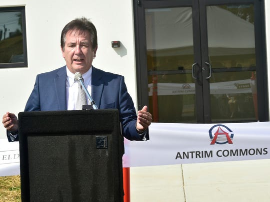 Mike Ross, president of FCADC, speaks during a ceremony at the new Eldorado Stone plant at Antrim Commmons, Greencastle. The company held a ribboncutting ceremony on Tuesday, September 26, 2017.