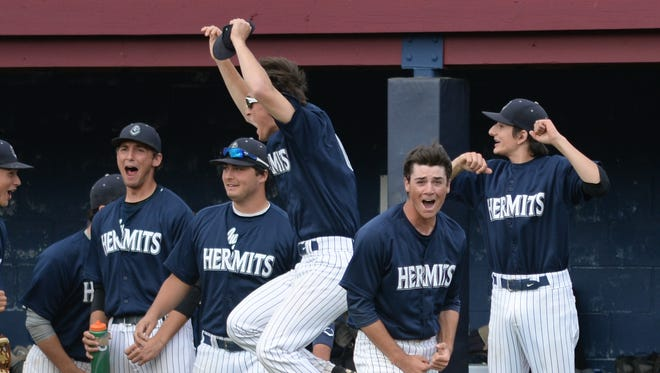 St. Augustine's bench reacts as Greg Elfreth (5) hits a 3-run home run against Gloucester Catholic in Sunday's Diamond Classic baseball tournament final at Eastern High School. 05.21.17 Joe Warner/For the Courier-Post