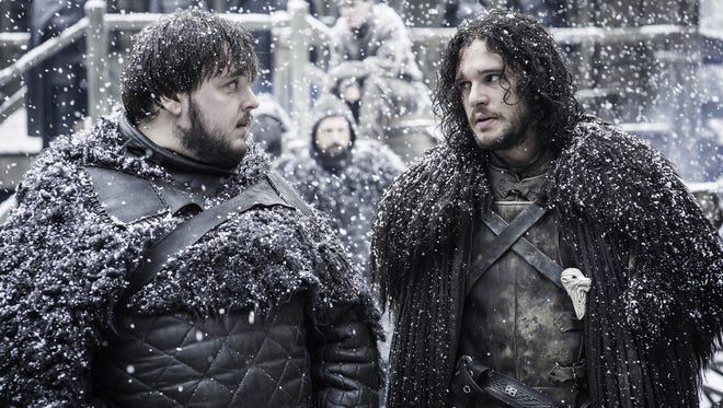 Samwell Tarly (John Bradley), left, wants to reunite with Jon Snow (Kit Harington) in HBO's 'Game of Thrones.'