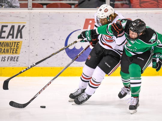 St. Cloud State's Jon LIzotte and Zach Yon of North