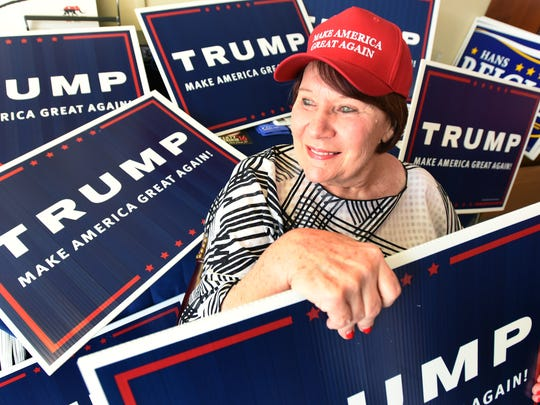 """Donald Trump supporter Mary Spicer, of Lewes, is shown on Tuesday. """"I do agree with him on most of his issues –– not all of them,"""" she says."""