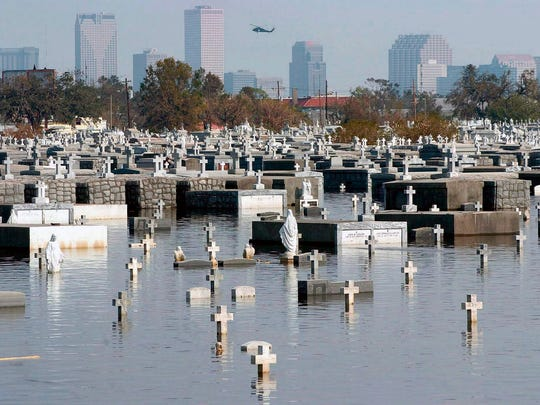 New Orleans Metairie cemetery remains flooded a week