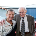 "Salinas native and internationally known aerobatics champion Sean D. Tucker shares a laugh recently with R.A. ""Bob"" Hoover and actor Harrison Ford in Ford's Santa Monica Airport hangar. Hoover is considered by many to be the world's greatest living aviator. Hoover stars in his recently released documentary biopic, ""Flying the Feathered Edge: The Bob Hoover Project."""