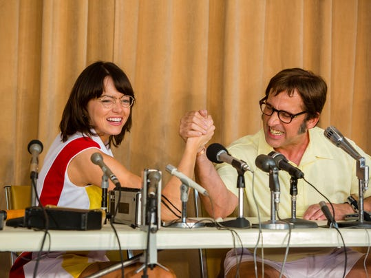 """FILE - This image released by Fox Searchlight Pictures shows Emma Stone, left, and Steve Carell in a scene from """"Battle of the Sexes."""" The story of the early days of the tour and King's fight for equal prize money is chronicled in the movie, which opened nationwide on Friday.  (Melinda Sue Gordon/Fox Searchlight Pictures via AP, File)"""