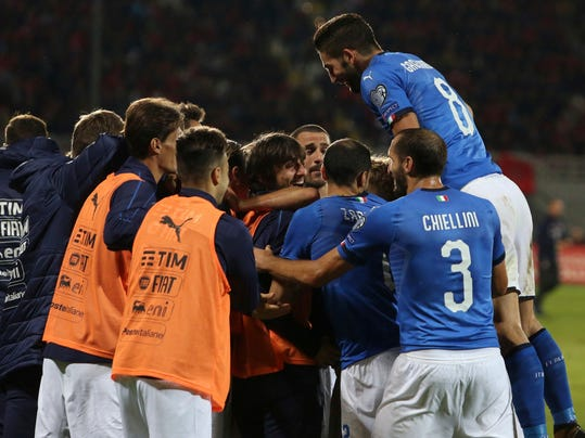 Italian players celebrate the goal of their team during the World Cup Group G qualifying soccer match between Albania and Italy at Loro Borici stadium, in Shkoder, northern Albania, Monday, Oct. 9, 2017. Italy won 1-0.(AP Photo/Hektor Pustina)