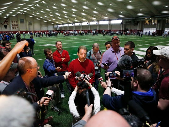 Alabama coach Nick Saban speaks to the media during Alabama's Pro Day, Wednesday, March 7, 2018, in Tuscaloosa, Ala. The event is to showcase players for the upcoming NFL football draft. (AP Photo/Brynn Anderson)