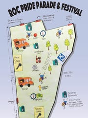 An illustrated map of Cobbs Hill Park shows activities available to patrons of the 2016 ROC Pride Festival.