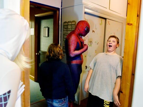 Jason Johnson of Elizabethtown, dressed as Spider-Man,