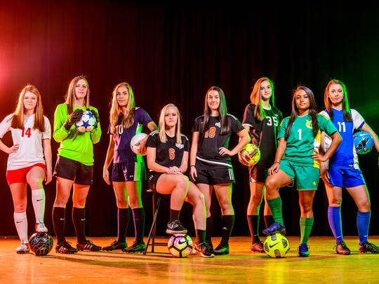 The GameTimePA.com YAIAA first-team all-stars are, from left: Susquehannock's Taylor Tannura, West York's Catie McCarty, Dallastown's Natalie Gettle, Central York's Lynsey Nicholas, Central York's Rachel Wilhelm, South Western's Taylor Geiman, York Catholic's Melanie Matthews and Spring Grove's Abby Erlemeier. Not pictured: Fairfield's Annabel Anderson, Northeastern's Brittany Arentz, Northeastern's Amanda Bentz and Fairfield's Hannah Logue.