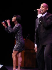 """Syndee Winters and Curtis Wiley Jr. take the stage at Tennessee Performing Arts Center to perform a few songs from """"Motown The Musical,"""" coming to TPAC next season."""