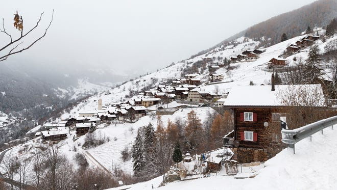 A general view of Albinen village on Nov. 30, 2017, in Albinen, Switzerland.