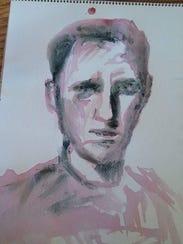 Lucas' self-portrait in wine and cigarette ash.