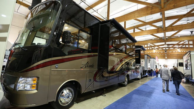 A 2016 Jayco Alante motorhome was on display at the fall RV Show Saturday, Oct. 17, 2015, at the Oregon State Fairgrounds in Salem. The show featured hundreds of new and used RVs from regional dealerships.