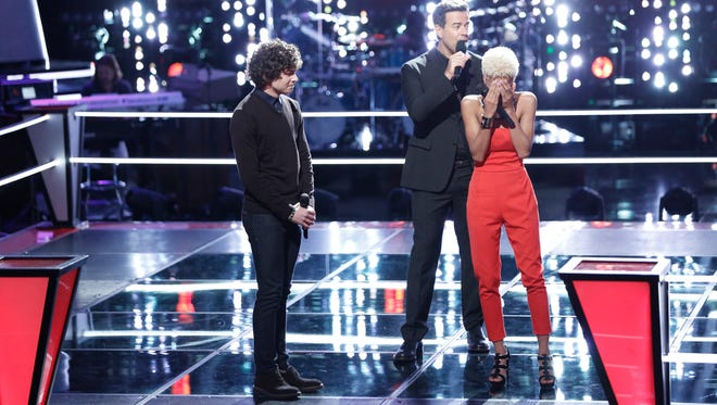 "Nadjah Nicole (right) reacts to moving on to the next round of ""The Voice."""