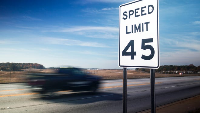 A car passes a speed limit sign Tuesday on S.C. 24 in Anderson County. Rep. Jonathan Hill is proposing to raise the speed limit from 45 mph to 55 mph along a 3-mile stretch of S.C. 24 from Michelin Boulevard to New Hope Road.