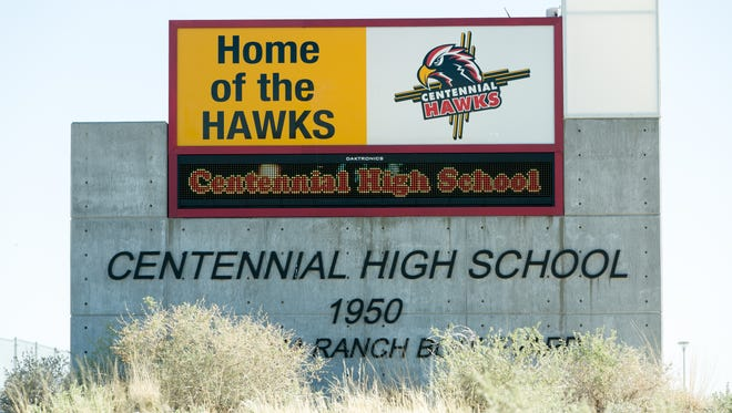 The sign at the main entrance of Centennial High School pictured on Monday, March 13, 2017.