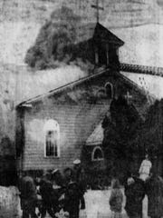 St. Philip Neri Catholic Church is ablaze, Feb. 20,