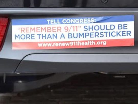 A bumpersticker supporting the permanent extension of the Zadroga Act.