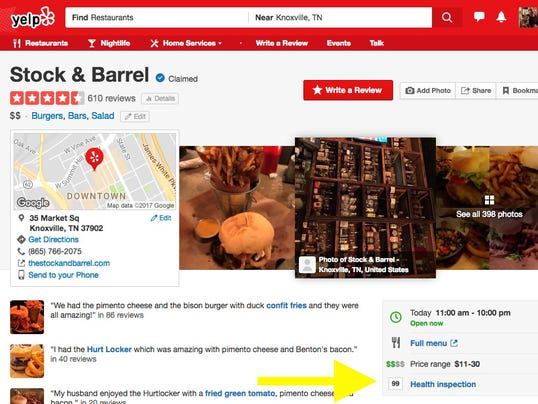 Image result for Tennessee restaurants listed on Yelp will now display health scores