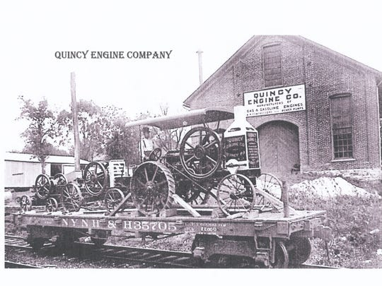 This is the Quincy Engine Works with finished equipment ready for rail shipment .