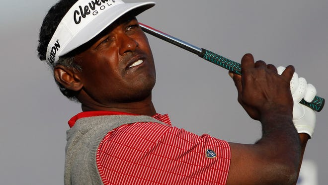 Vijay Singh hits his tee shot on the par-3 12th hole during Round 4 at the Waste Management Phoenix Open at the TPC Scottsdale on Feb. 6, 2011 in Scottsdale.