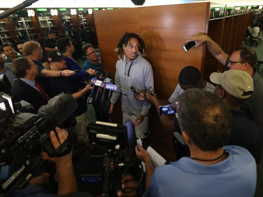 Robby Anderson talks to the press about the upcoming