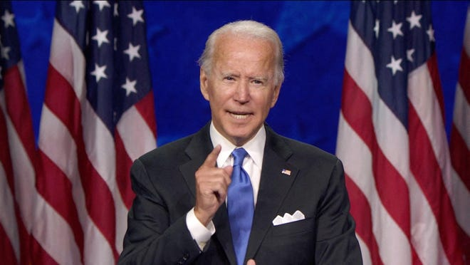 Former Vice President Joe Biden, the 2020 Democratic Party nominee for president, delivers his acceptance speech on August 20.