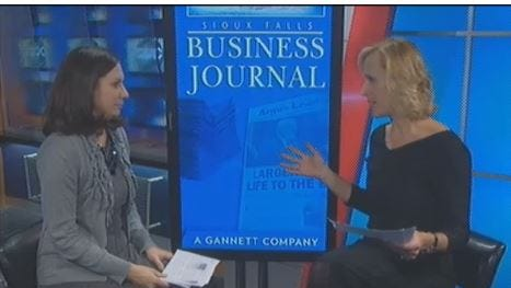 Sioux Falls Business Journal editor and KSFY anchor Paige Pearson on Tuesday's 5 p.m. newscast.