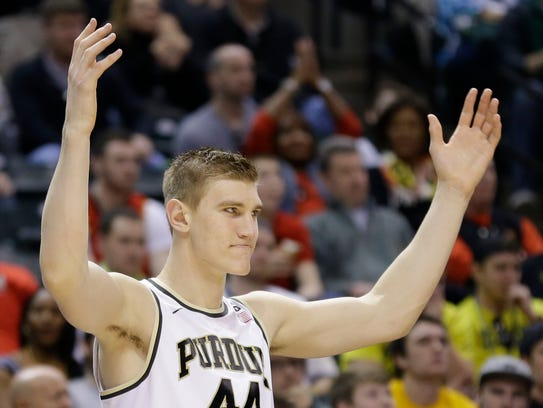 Purdue center Isaac Haas (44), who is from Hokes Bluff,