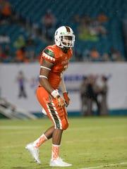 Miami defensive back Deon Bush