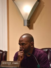 Councilman De'Keither Stamps listens as the Jackson City Council discuss a public-private partnership relating to a deficit in Jackson's parks and recreation budget during the City Council meeting at Jackson City Hall Wednesday, Aug. 16, 2017.