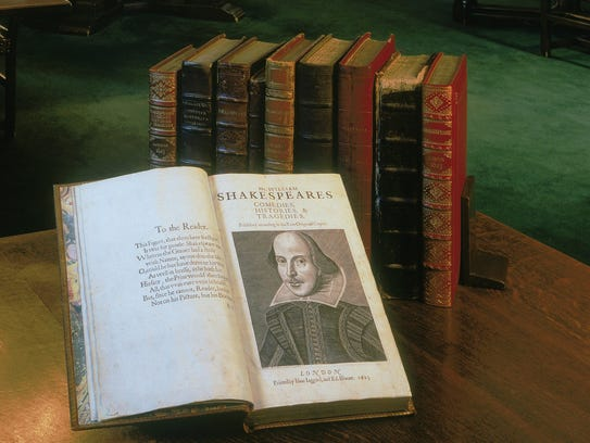 A first folio on display in the Folger Shakespeare