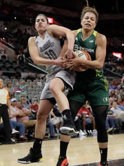 San Antonio Stars guard Kelsey Plum and Seattle Storm