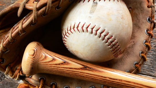 A top view image of a baseball, glove and bat.