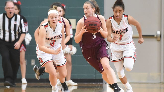 Stuarts Draft's Rachel Sauder drives the ball downcourt with George Mason's Victoria Rund and Nicole Bloomgarden pursuing during a Region 2A East girls consolation game played in Mechanicsville on Saturday, Feb. 25, 2017.