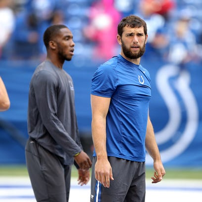 Indianapolis Colts quarterback Andrew Luck (12),right,