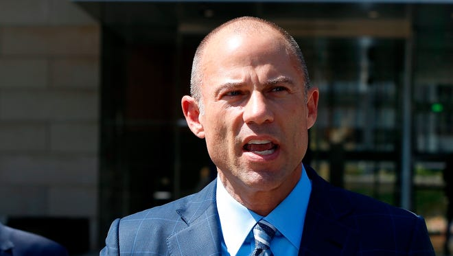 Michael Avenatti, attorney for porn actress Stormy Daniels, talks to the media outside court in Los Angeles April 20, 2018.
