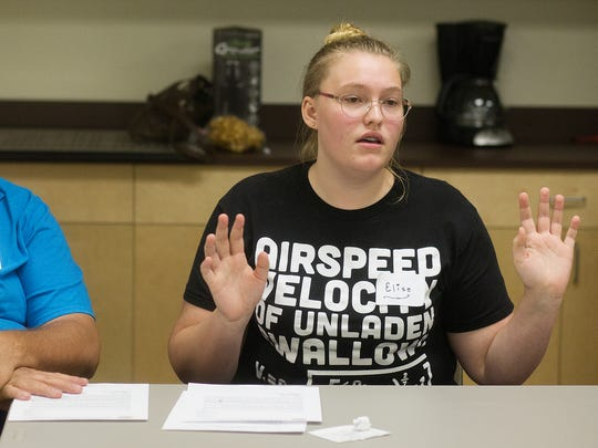 Elise Sexton was among those attending a community meeting Wednesday about a sexual encounter involving students at South Fort Myers High School. The gathering was held at the Unitarian Universalist Church of Fort Myers.