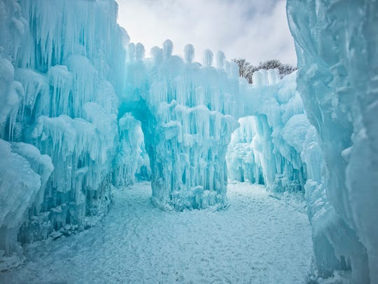 Ice walls changes from white to blue as they thicken.