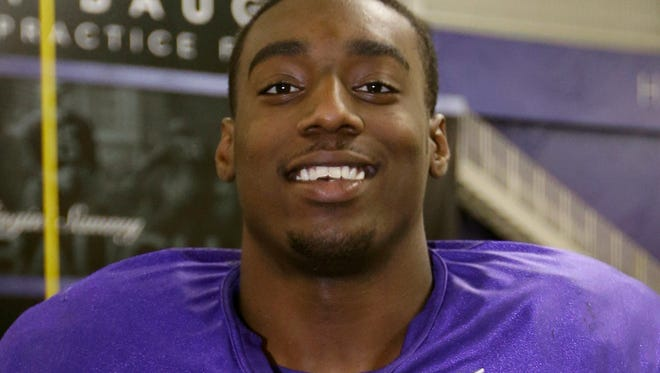 TCU defensive end Devonte Fields poses for a photo at the team's training facility following a practice for the Buffalo Wild Wings Bowl in Fort Worth, Texas. Fields will join Stephen F. Austin, an FCS school that he will be able to play at, immediately.