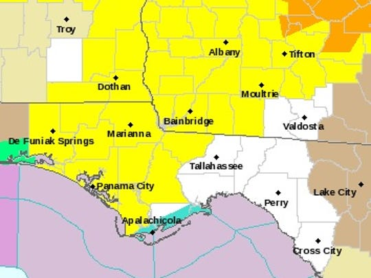 Slowly crawling across the Southeast, a severe line of storms that has already produced at least one tornado in the area should arrive in Tallahassee around 8 p.m.