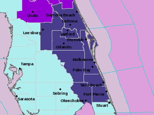 This diagram from the NWS in Melbourne shows a freeze warning (dark purple) for areas along the Space Coast.
