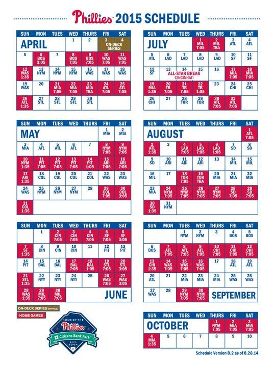 Phillies release 2015 schedule